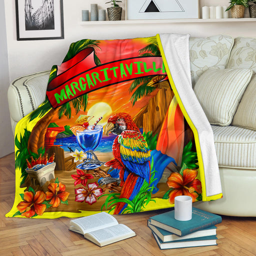 Margaritaville Yellow Parrot Beach Sunset Premium Blanket