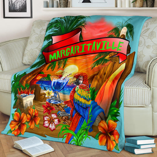 Margaritaville Baby Blue Parrot Sunset Beach Premium Blanket