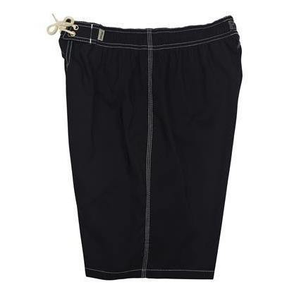 """A Solid Color"" Mens Elastic Waist Board Shorts - 22"" Outseam / 9.5"" Inseam (Black+White Stitching)"