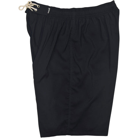 """A Solid Color"" Mens Elastic Waist Board Shorts - 22"" Outseam / 9.5"" Inseam (Black+Black Stitching and 5 other DARK colors!) - Board Shorts World - 1"