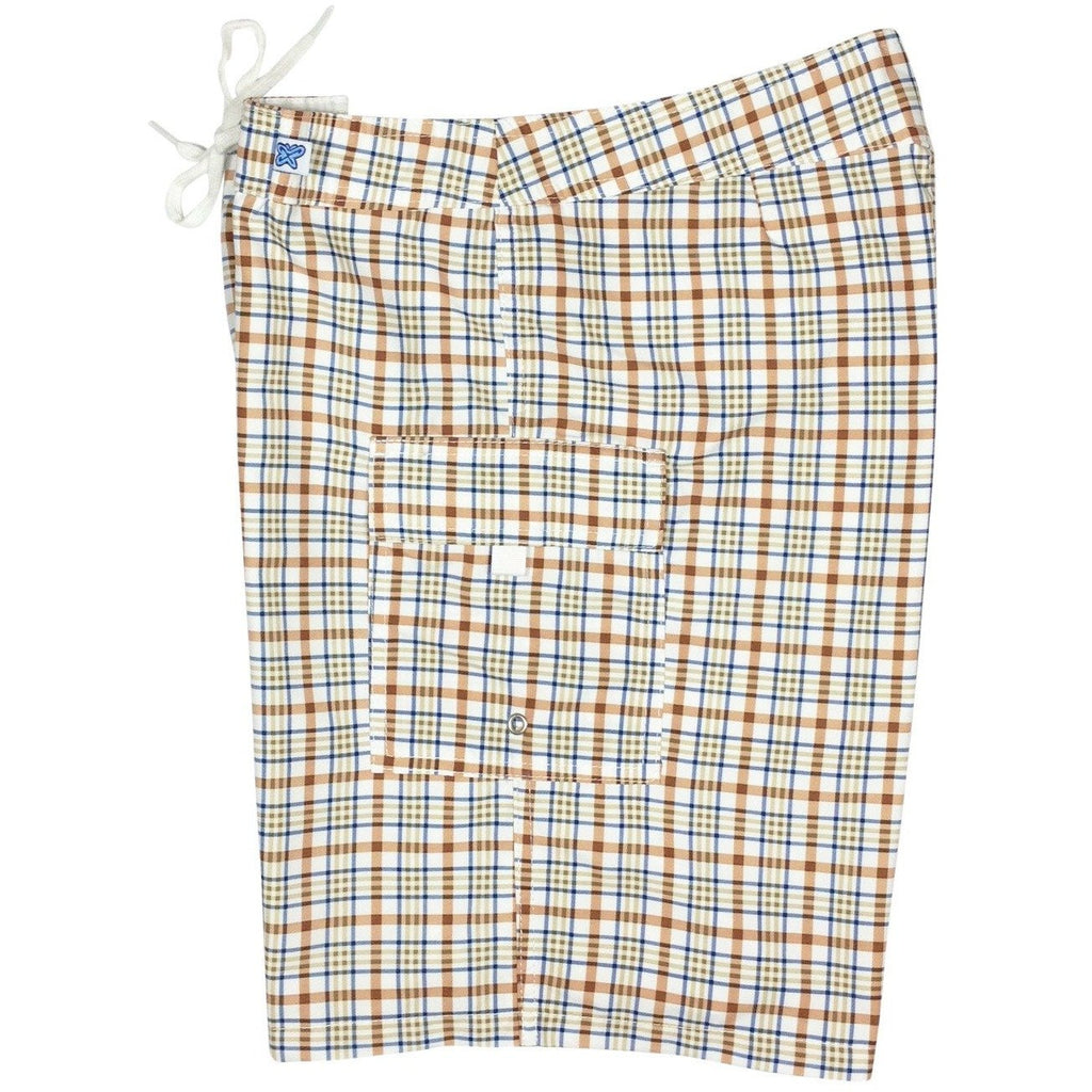 """Please Come to Boston"" Check Print Womens Board Shorts - Regular Rise / 10.5"" Inseam (Brown, Pink, or Blue) - Board Shorts World - 1"