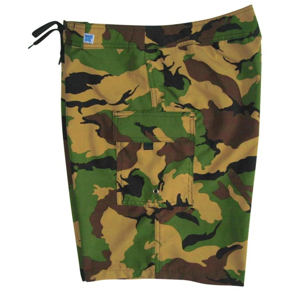 """Stealth Fanatic"" Camo Print Womens Board Shorts - Regular Rise / 10.5"" Inseam (Traditional) - Board Shorts World"