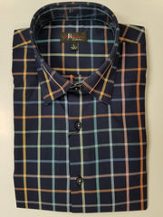 Jon Randall Collection Navy Multi Color Plaid Sport Shirt - Rainwater's Men's Clothing and Tuxedo Rental
