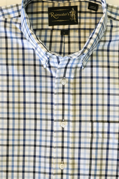 White with Navy Grey & Blue Plaid Button Down Wrinkle Free Sport Shirt by Rainwater' - Rainwater's Men's Clothing and Tuxedo Rental