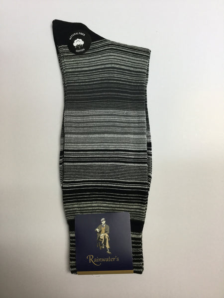 Rainwater's Mercerized Cotton Heathered Striped Dress Sock - Rainwater's Men's Clothing and Tuxedo Rental