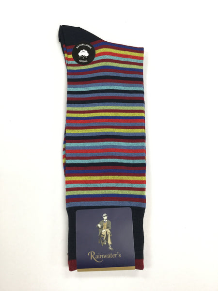 Rainwater's Mercerized Cotton Multi Stripe Dress Sock - Rainwater's Men's Clothing and Tuxedo Rental