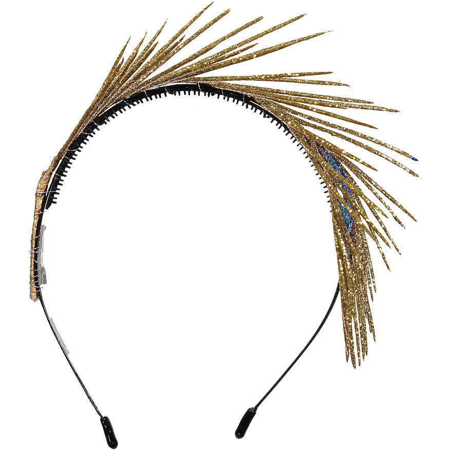 Sparkles Gold Peacock Feather Headband - Ladida