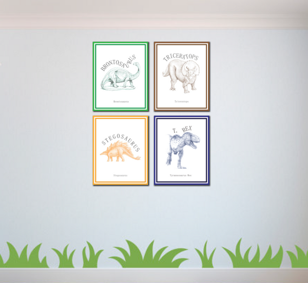 Canvas or Print, Classic Dinosaur Collection, Set of 4