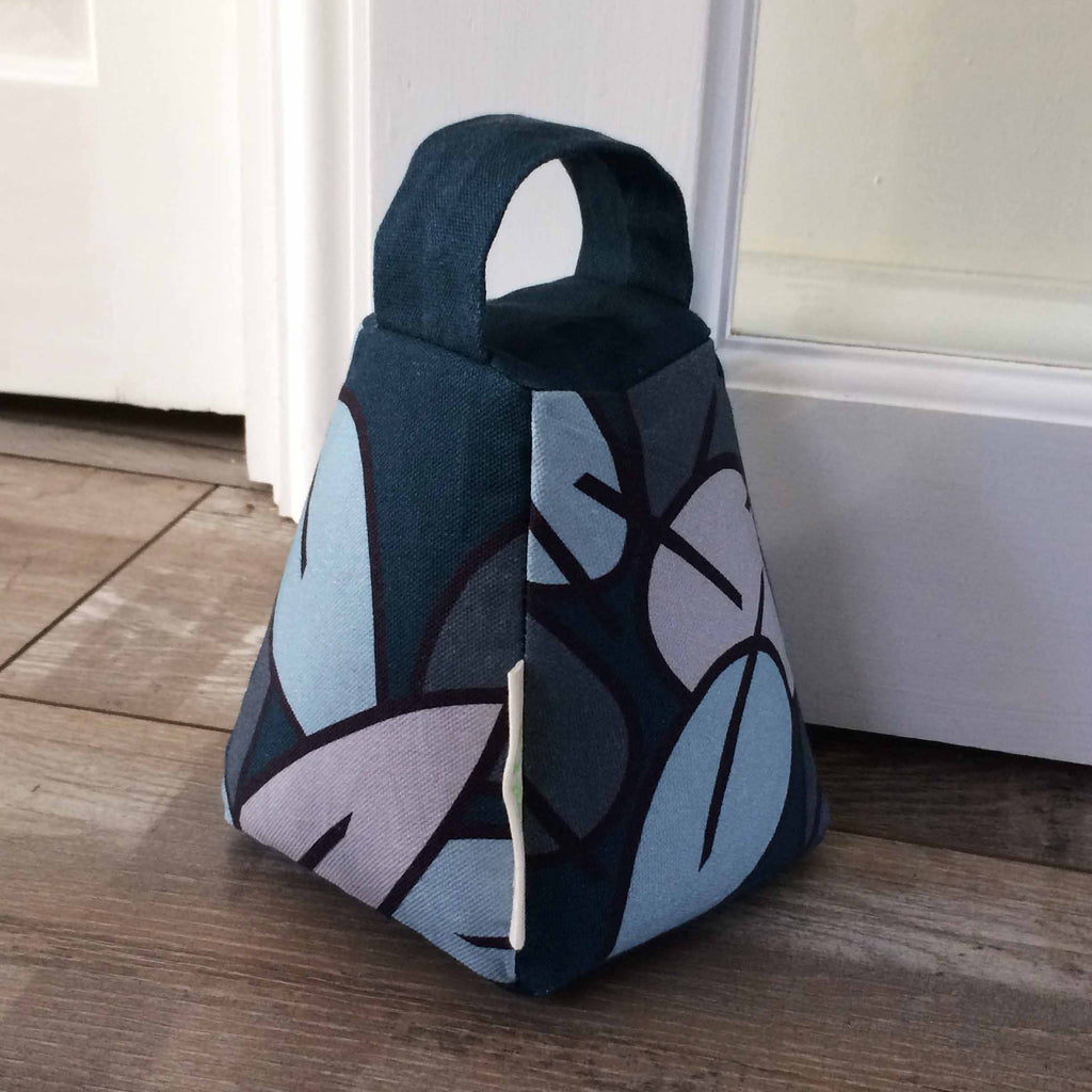 Tiny Bird Textiles door stop in Eucalyptus Leaf pattern in blue and grey
