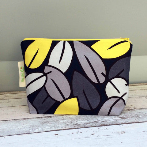 Make up pouch bag in Tiny Bird Textiles Eucalyptus Leaf pattern in bright yellow, deep blue and grey