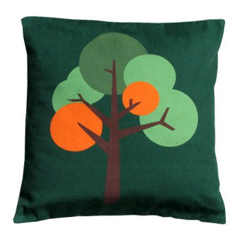 Oak Tree design cushion in Forest green textured fabric with accent colour yellow orange red grey