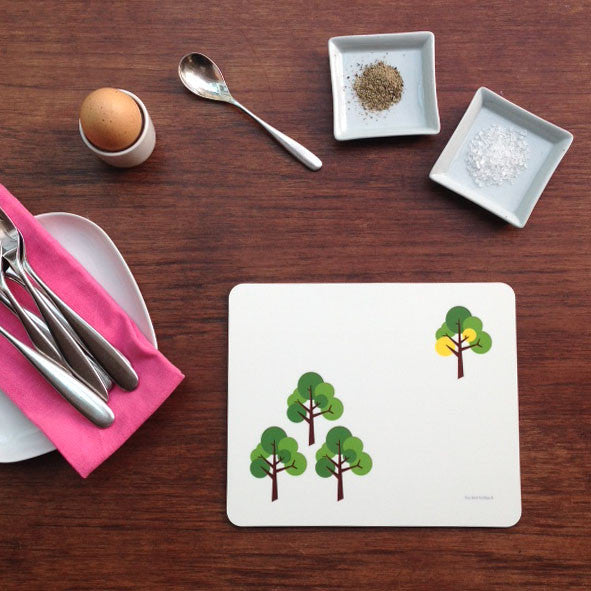 Oak Tree pattern placemats table mat with bright pink, yellow, grey, orange & green accent colour