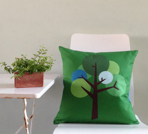 Oak Tree design cushion in Spring Green textured fabric with accent colour Sky Blue