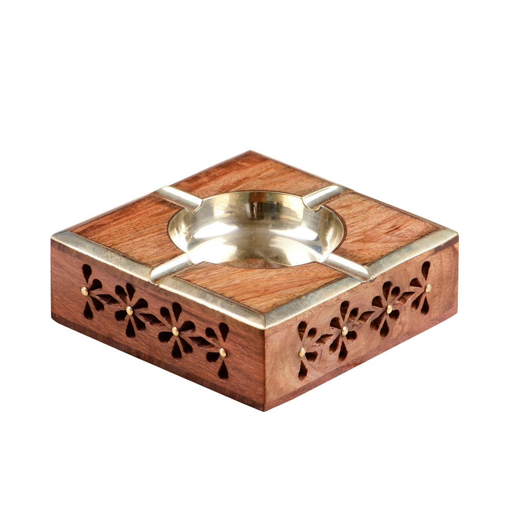 Rusticity Wooden Ash Tray with Cigarette Rests - Mughal Design | Handmade | (4x4 in)