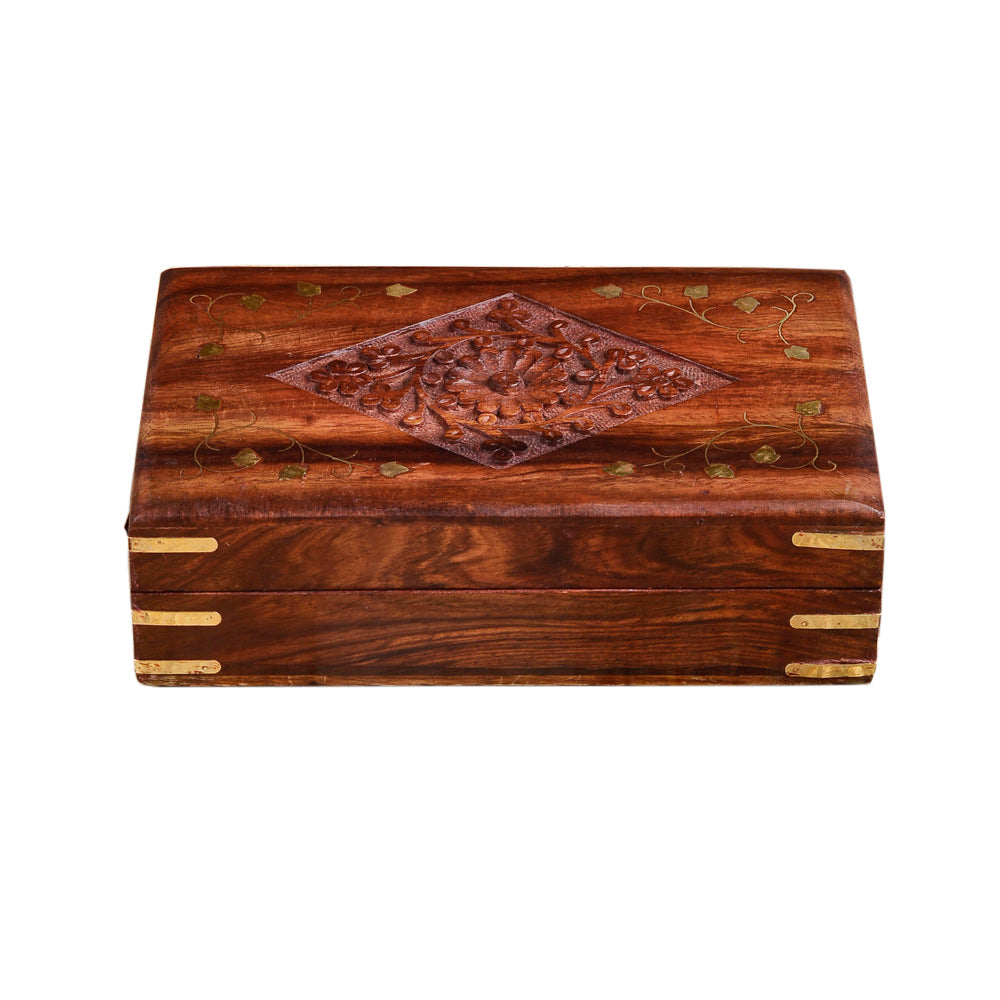 Rusticity Wooden Decorative Jewelry Box - Carved with Brass Inlay | Handmade | (8x5 in)