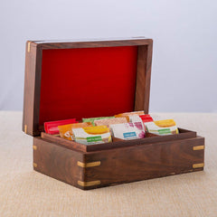 Rusticity Wood Tea Bag / Spice Storage Box with Lid and 9 pockets | Handmade | (9x6 in)