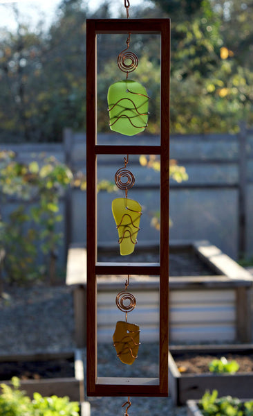 Windchime Sea Glass Cedar with Large Copper Chimes - Coast Chimes - 2