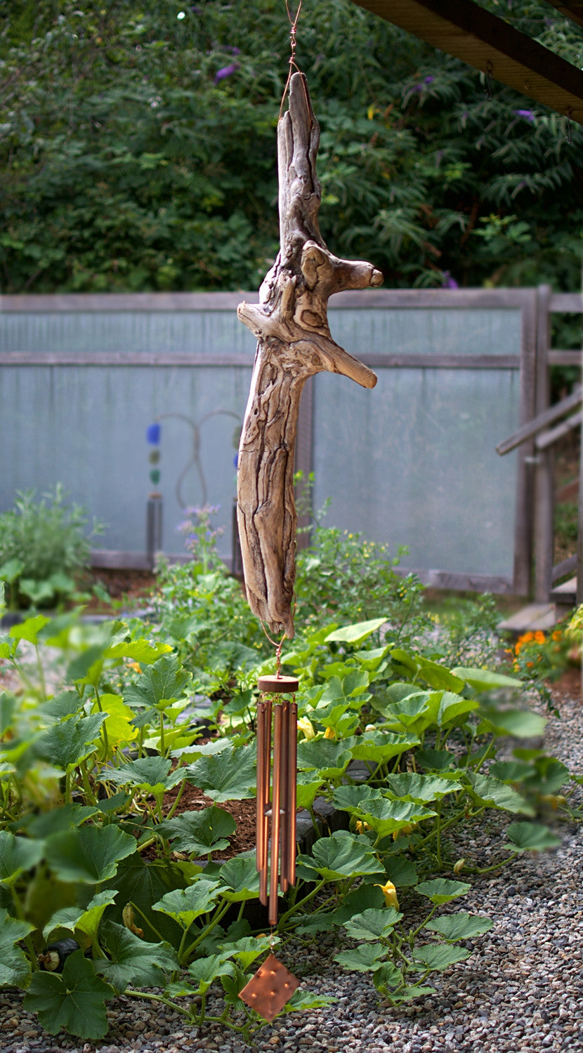 Large Natural Driftwood Outdoor Wind Chime Copper Chimes