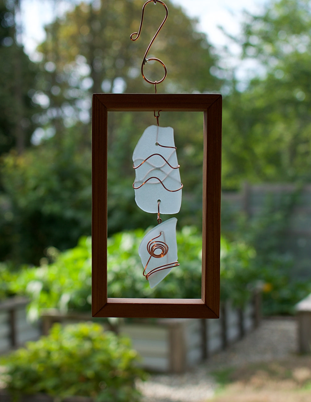 Suncatcher Framed Sea Glass, Copper, Cedar Sun Catcher