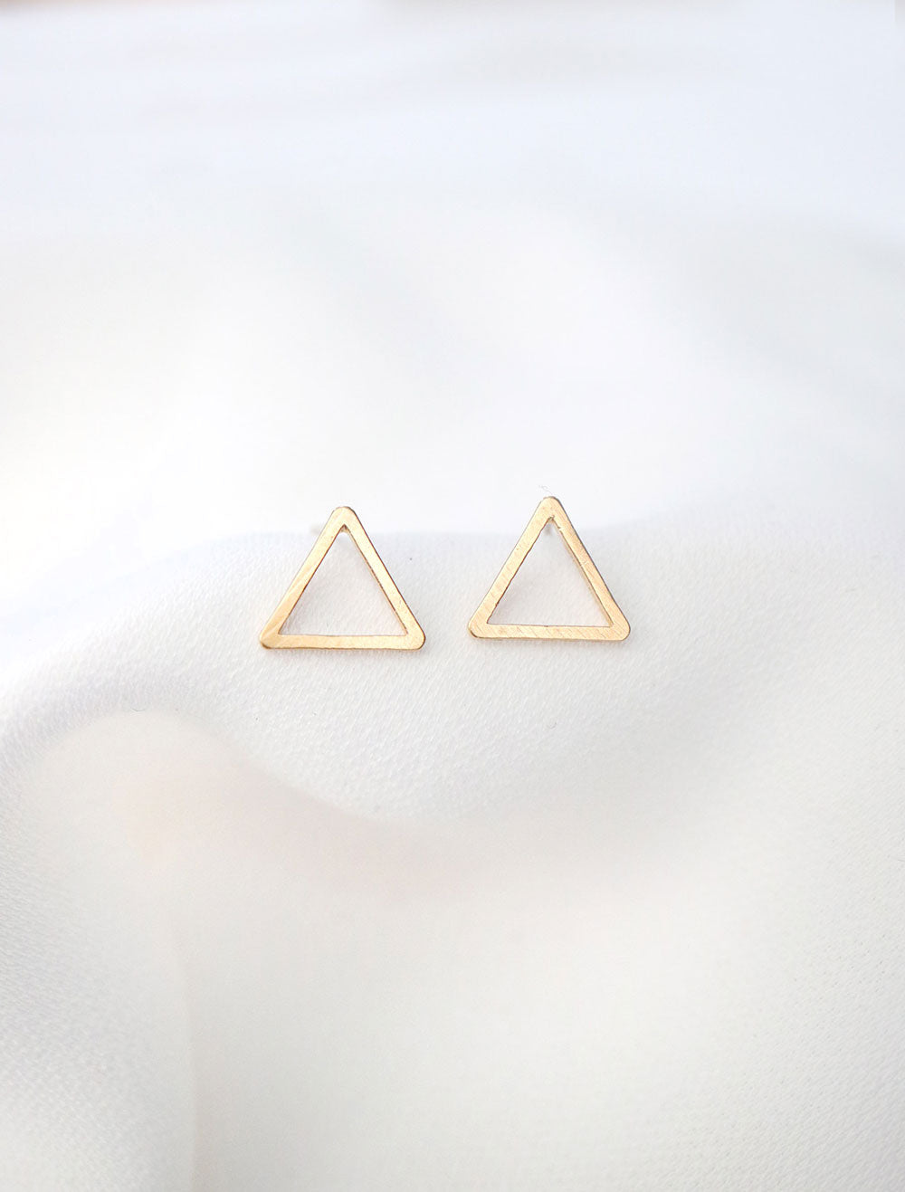 gold cutout triangle earrings