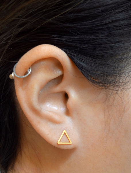 gold filled triangle studs modelled