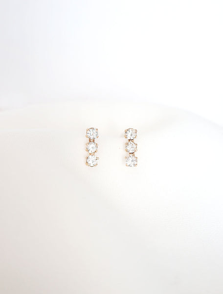 crystal triple bar earrings 14k gold filled