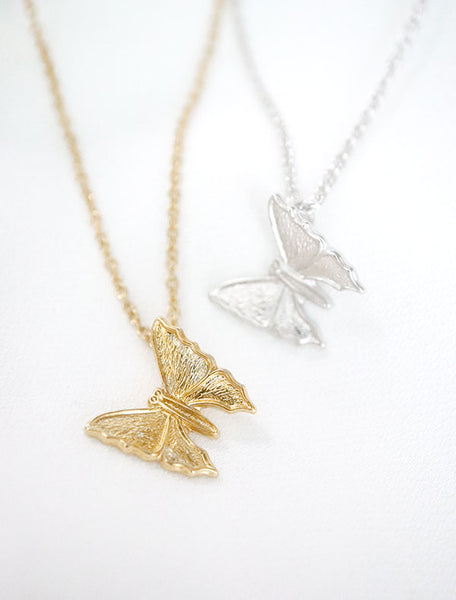butterfly necklace gold and silver