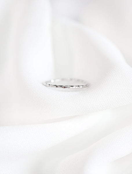 silver micro faceted band ring