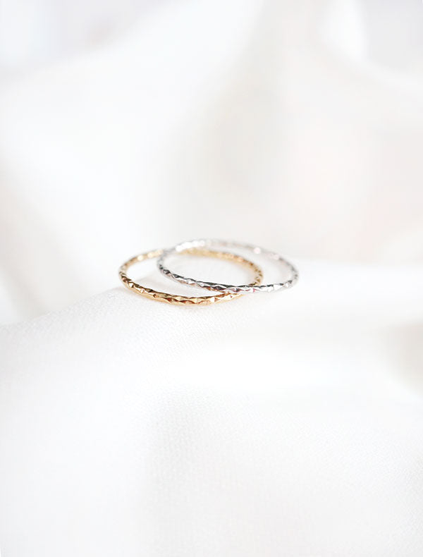 micro faceted ring bands gold and silver