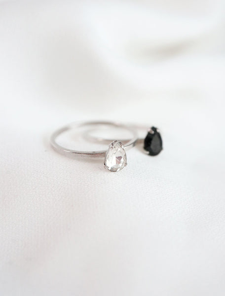 silver filled crystal teardrop rings in clear and black