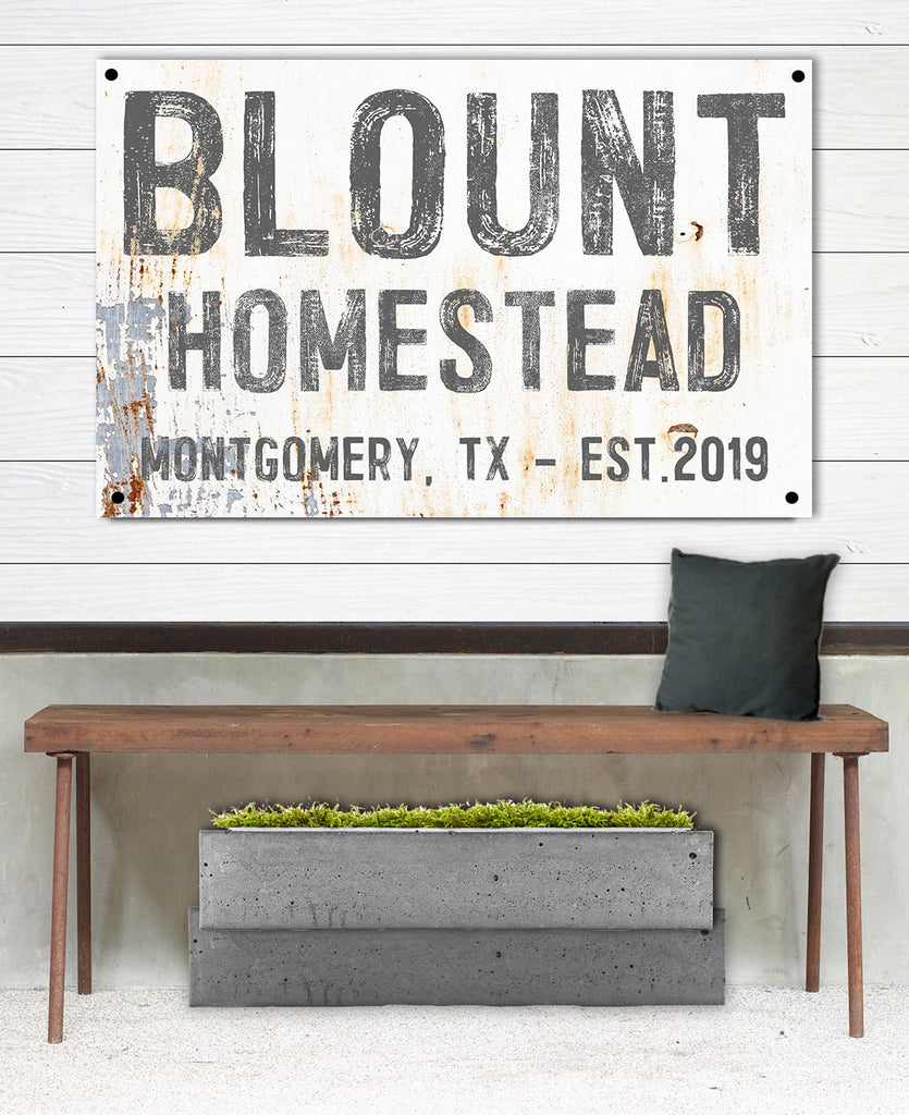 Personalized Outdoor Sign for Modern Farmhouse - Custom Last Name Sign Metal Sign