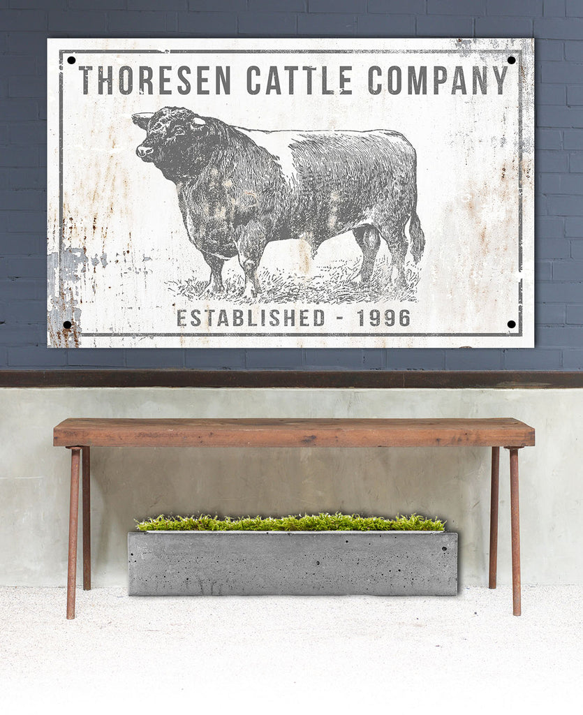 Personalized Cattle Company Metal Sign - Custom Farmhouse Family Name Sign - Metal Outdoor Sign