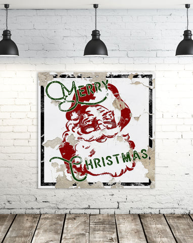 Modern Farmhouse Christmas Sign - Merry Christmas Santa Rustic Sign