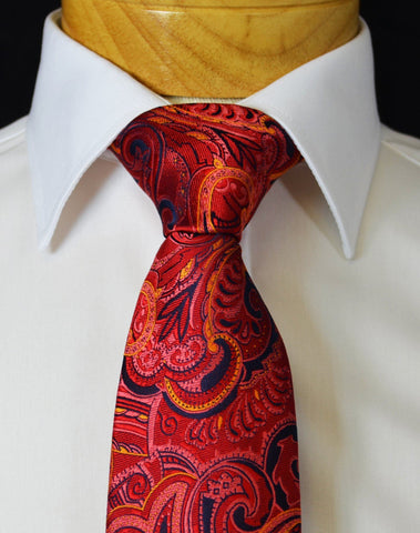 Extra Long Royal Blue and Yellow Paisley Men's Tie