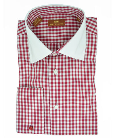 Black and White Plaid Slim Fit Dress Shirt