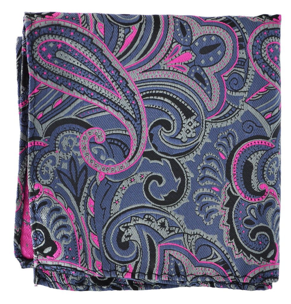 Extra Long Royal Grey and Hot Pink Paisley Men's Tie BerlinBound Ties - Paul Malone.com