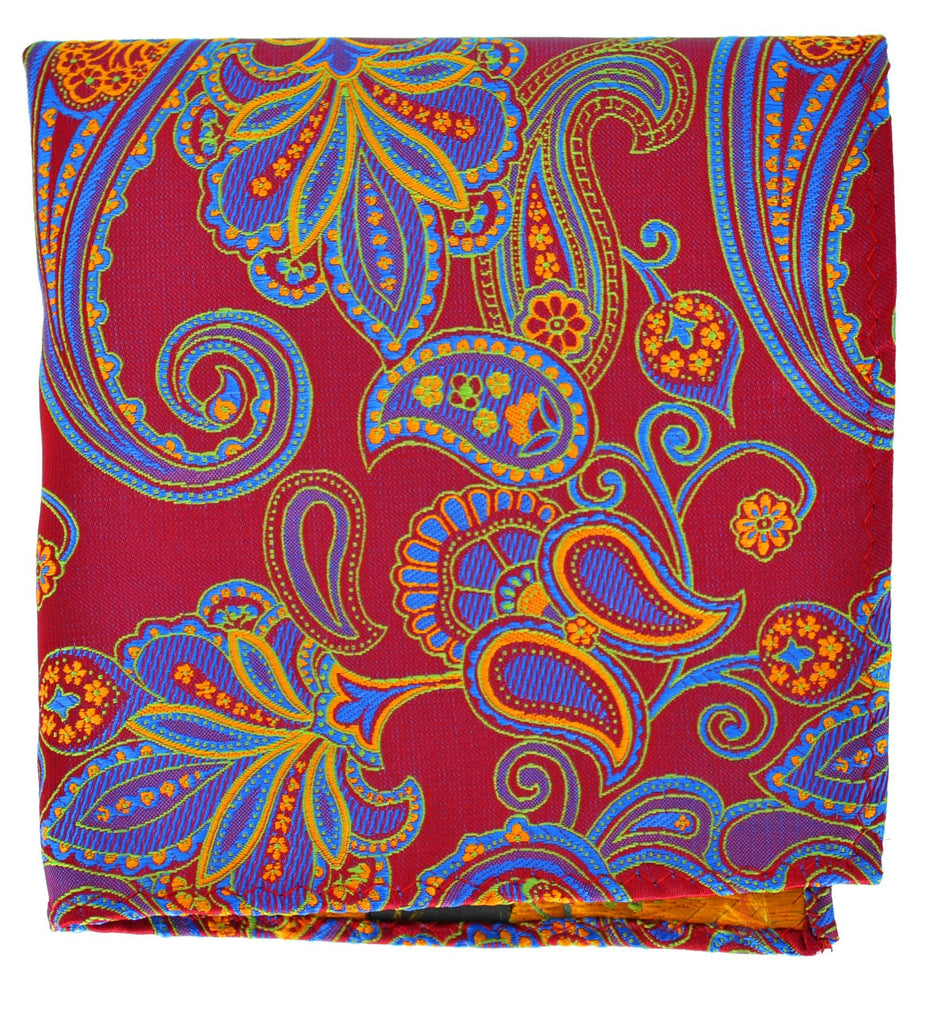 Extra Long Red, Blue and Orange Paisley Men's Tie BerlinBound Ties - Paul Malone.com