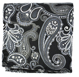 Extra Long Black and White Paisley Men's Tie BerlinBound Ties - Paul Malone.com