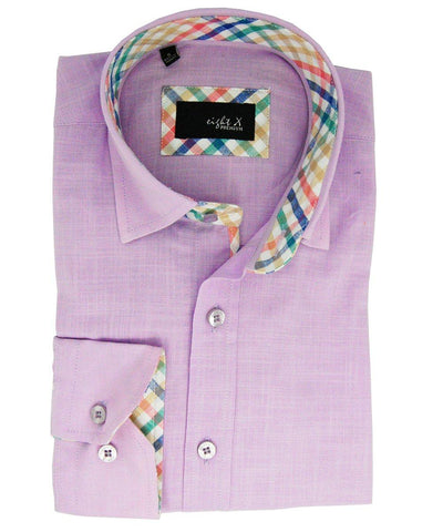 Lilac and White French Cuff Dress Shirt