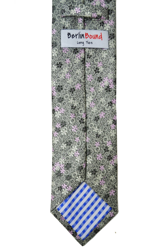 Extra Long Sylvan Green and Pink Floral Men's Tie BerlinBound Ties - Paul Malone.com