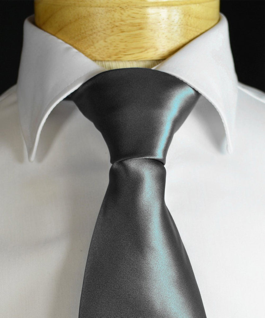 Solid Grey Necktie and Pocket Square Paul Malone Ties - Paul Malone.com