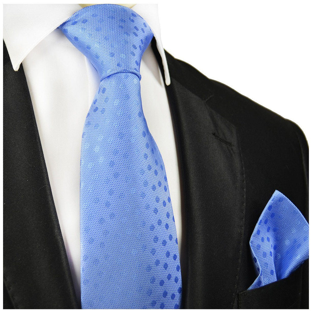 Light Blue Polka Dot Silk Tie and Pocket Square Paul Malone Ties - Paul Malone.com