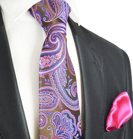 Royal Blue and Brown Paisley 7-fold Silk Tie Set
