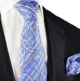 Blue Silk Tie and Pocket Square Paul Malone Ties - Paul Malone.com