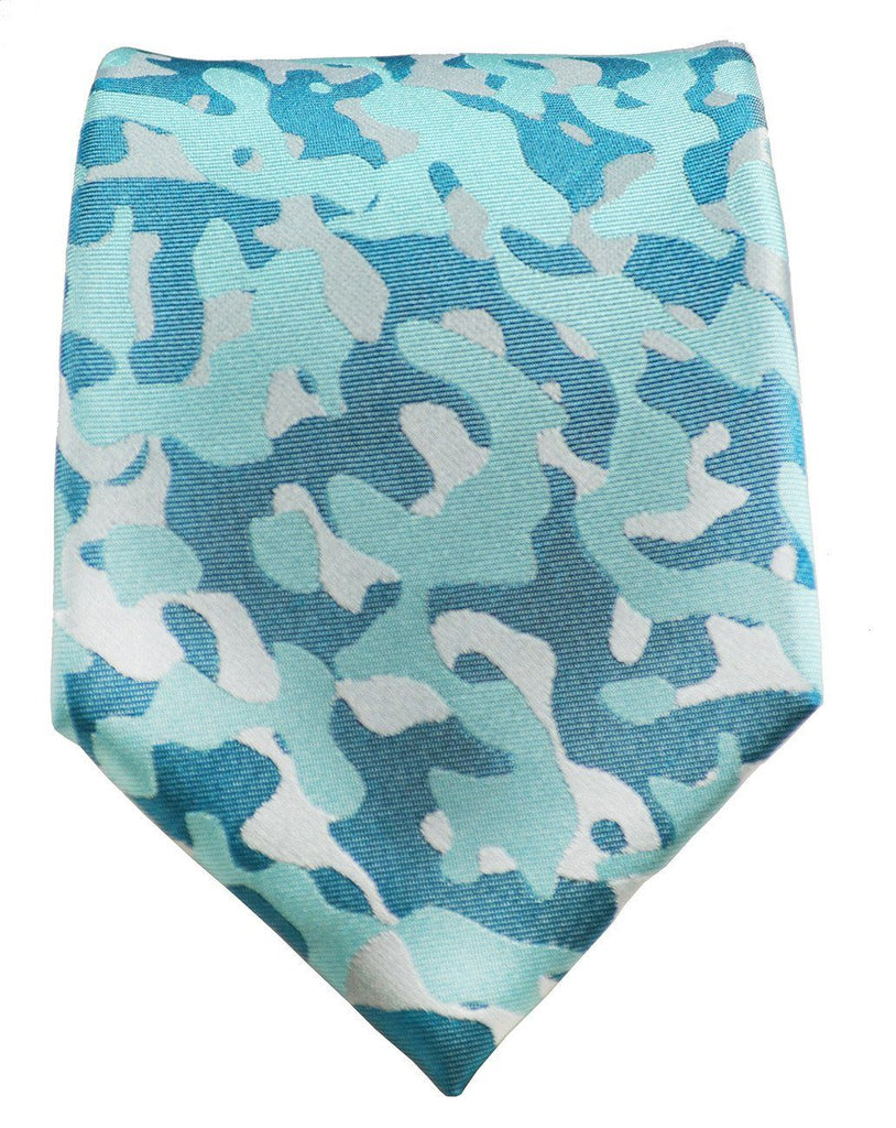Turquoise Camouflage Silk Tie and Pocket Square Paul Malone Ties - Paul Malone.com
