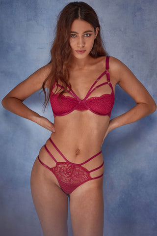 Hollie red lace strappy bra B - F