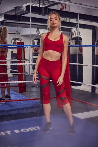 Mesh Panel Crop Leggings Red