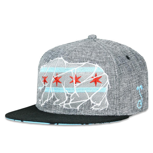 Chicago Mosaic Bear Gray Black Fitted Hat