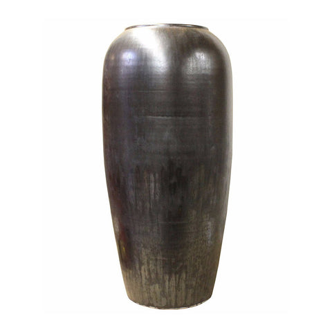 ceramic pot - black glaze tall vase - clay tall pot