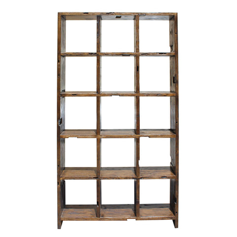rustic wood cube display cabinet